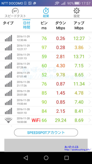 OCNモバイルONE通信速度結果3