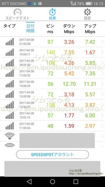 格安SIM速度アプリ計測の実測値FREETEL2017年4月