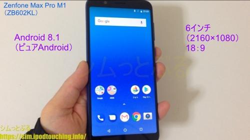 Zenfone Max Pro M1(ZB602KL)本体を手に持って