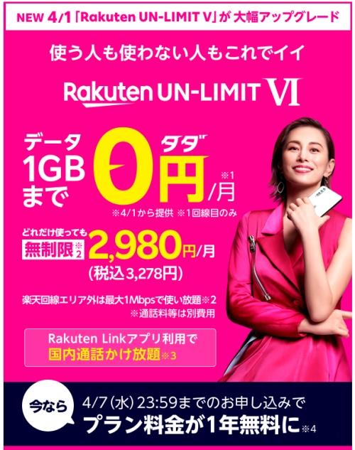 「Rakuten UN-LIMIT VI」(楽天モバイル)